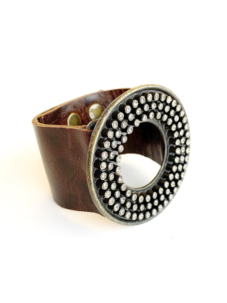 Leather Cuff With Round Brass Plate Covered In Crystal Nibs