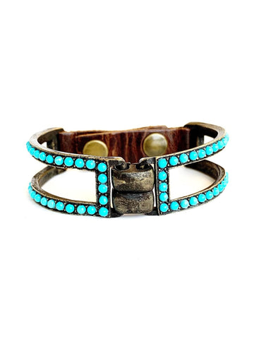 Double Bar Bracelet With Light Turquoise