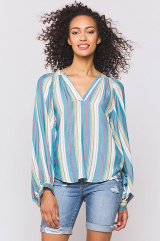 Alva Balloon Sleeve Shirt in Bay Blue Stripe
