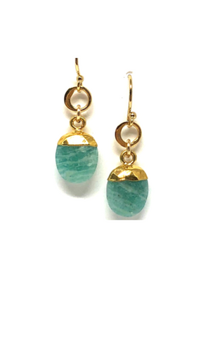 Lela Amazonite Oval Earrings