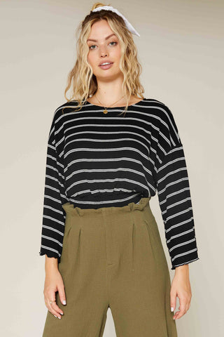 Above Us Striped Knit Top