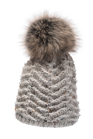 Alena Beanie with Faux Fur Pom Pom in Bone
