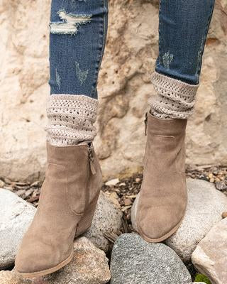 Grace & Lace 'Alpine Knit Top Bootie Socks' - Barley