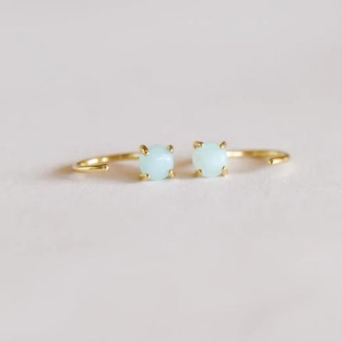 Amazonite Huggie Earrings in Gold