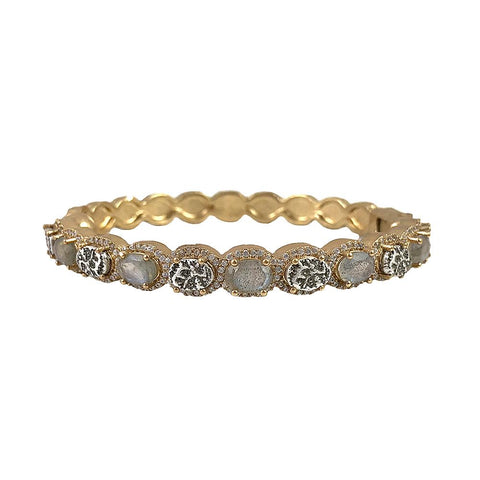 Tat2 Hati Labradorite & Coin Bangle In Gold