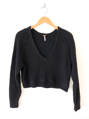 "Free People ""High Lo"" V-Neck Sweater In Black"