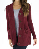 Grace & Lace 'Bamboo Button Cardi – Fired Brick