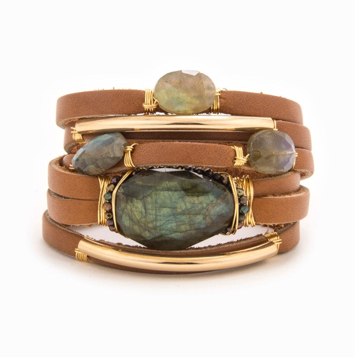 Bethany Leather Shred Bracelet with 14k Gold and Labradorite Stones