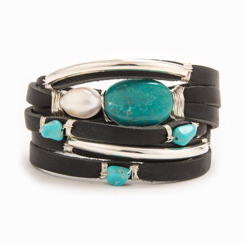 Black Hawk Silver And Turquoise Black Leather Wrap Bracelet