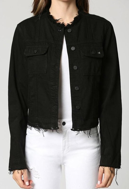 Rebel Black Collarless Denim Jacket