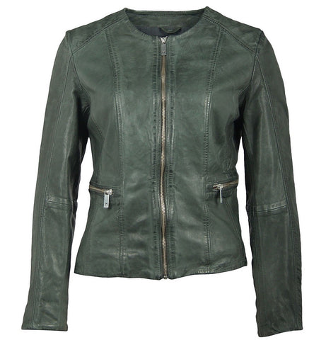 Blair Leather Jacket In Hunter Green