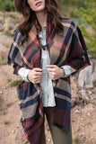 Grace & Lace Blanket Scarf/Toggle Poncho in Spice/Navy