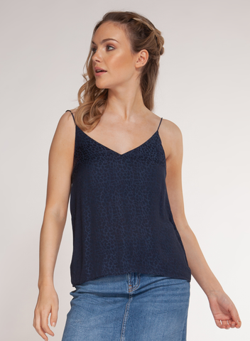 Animal Print Cami in Navy Jacquard
