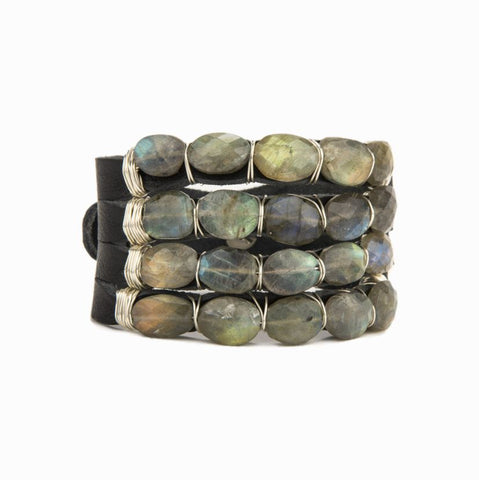 Labradorite and Leather Bracelet