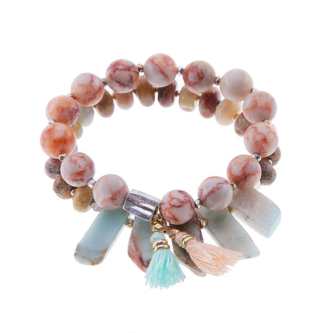 Pink And Turqouise Fringed Beaded Bracelet