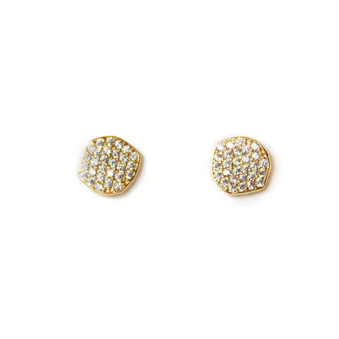 Pave Organic Disc Earrings, Gold
