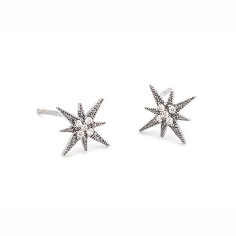 Starburst Earrings, Oxidized Silver