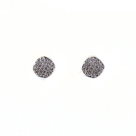 Pave Organic Disc Earrings, Silver