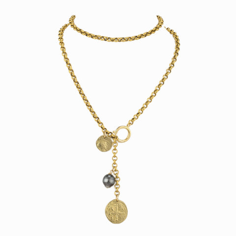Charmed Tahitian Brass Necklace with Tahitian Black  Pearl