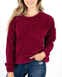 Chenille Popover Sweater by Grace & Lace, Winterberry