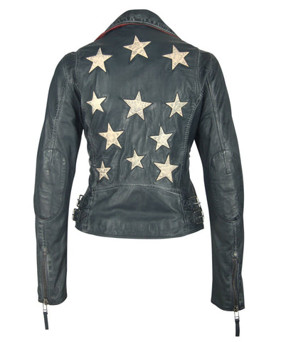 Christy Leather Jacket In Navy Mauritius