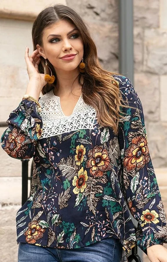 Grace & Lace 'Autumn Marisol Blouse' In Floral