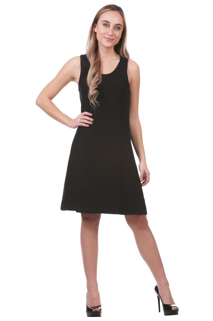 Lilith Geometric Texture A-Line Dress, Black