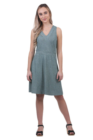 Lettie Metallic V-Neck Dress, Aqua
