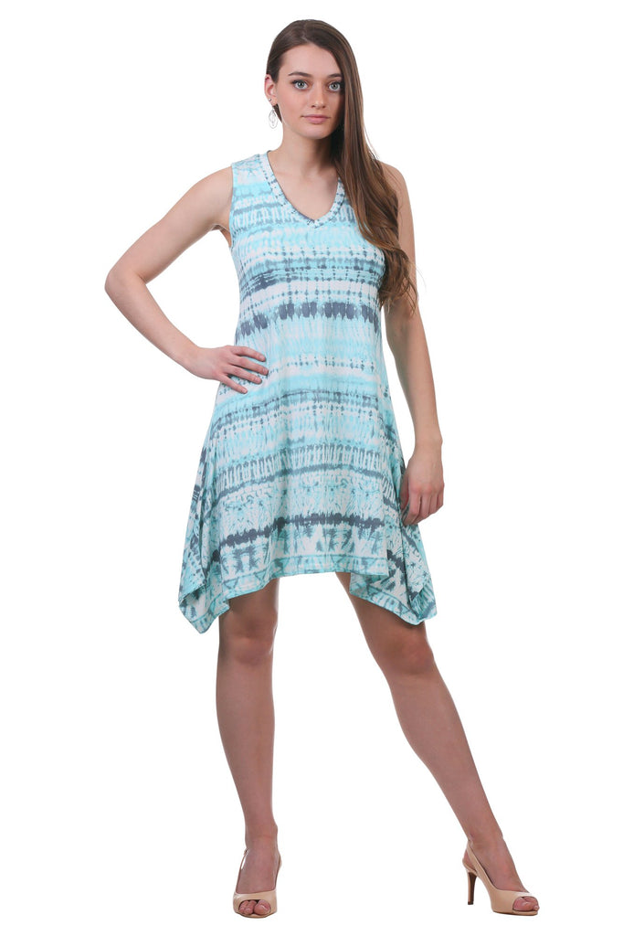 Liza Irregular Hem Swing Dress, Light Teal
