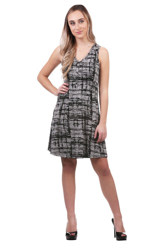 Jane Burnout Smocked Button Dress, Grey/Black