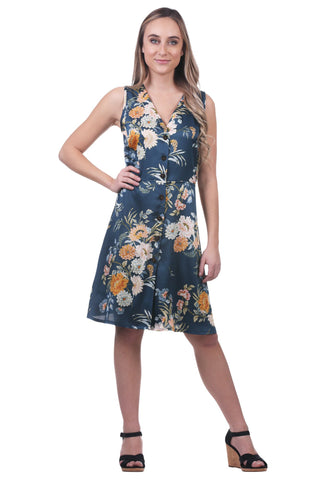 Calandra Floral Satin Button Dress, Blue