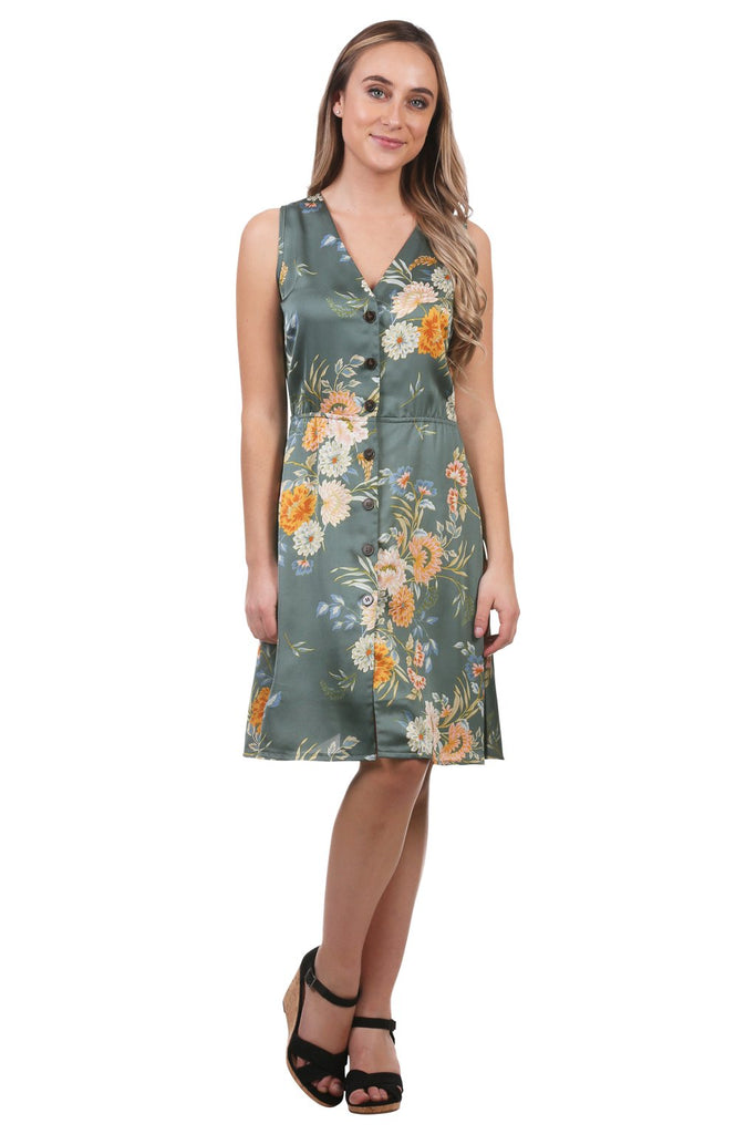 Calandra Floral Satin Button Dress, Green