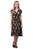 Astrid Floral Tiered Midi Dress, Black