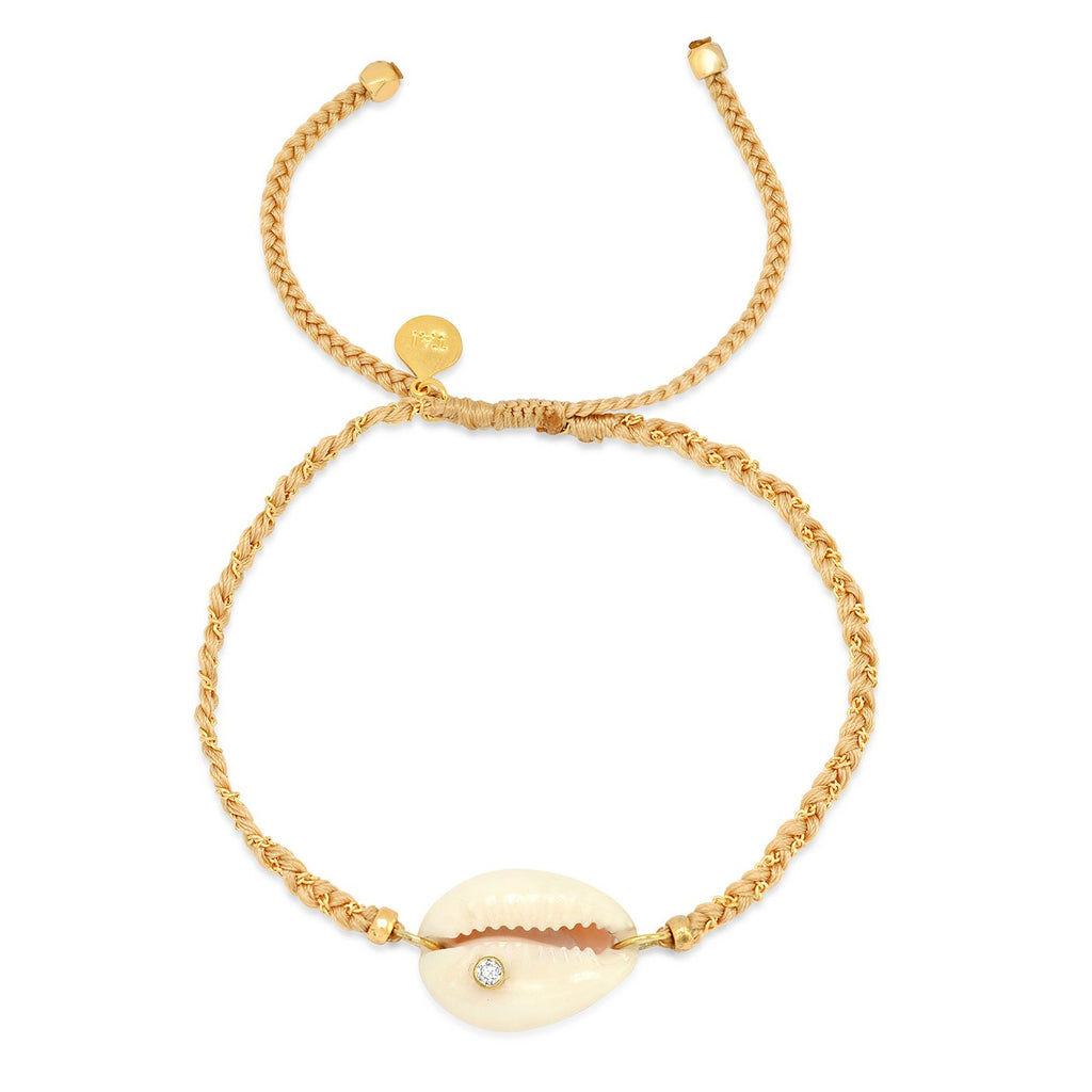 Tai Jewelry Cowrie Shell Braided Bracelet In Beige