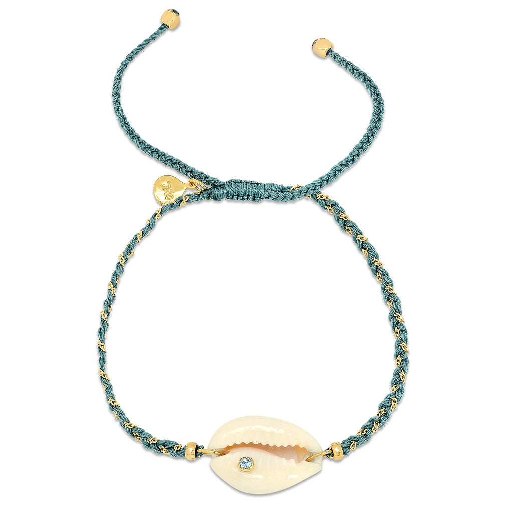 Tai Jewelry Cowrie Shell Braided Bracelet In Teal