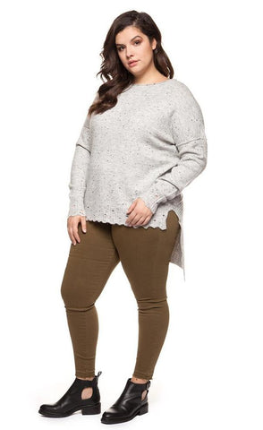 PLUS SIZE- Deidre Asymmetrical Grey Sweater