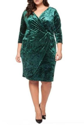 PLUS SIZE - Velvet Wrap Dress With Ruching