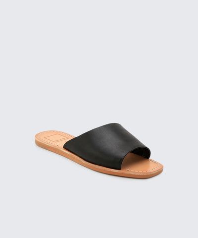 Cato Black Leather Slide Sandals