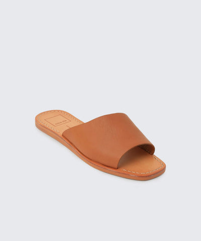 Cato Caramel Leather Slide Sandals