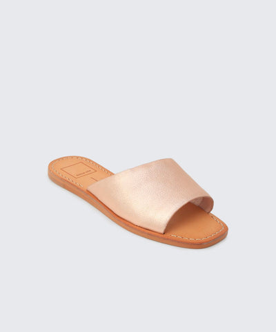 Cato Rose Gold Leather Slide