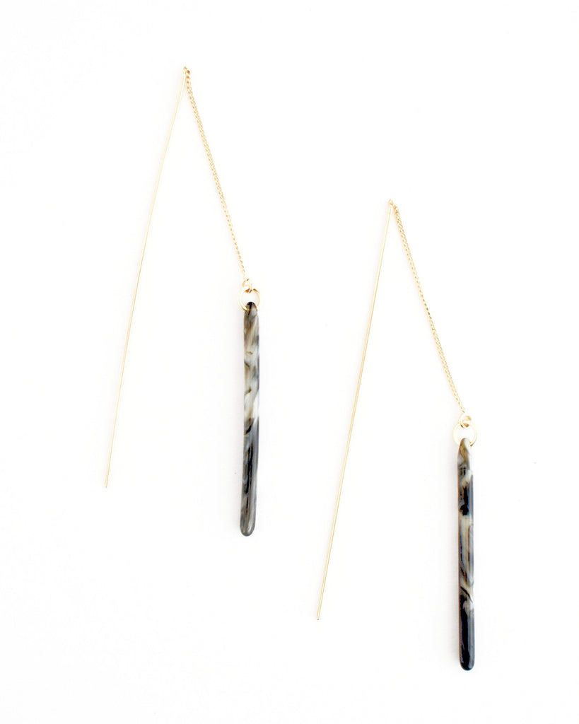 Evette Tortoise Earrings, Grey Mix