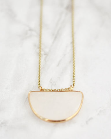 Olivia Half Circle Necklace In White Marble
