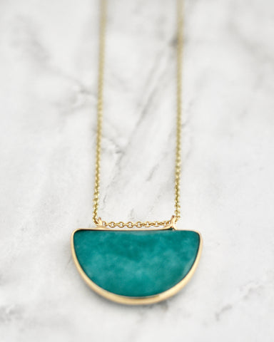 Olivia Half Circle Necklace In Teal