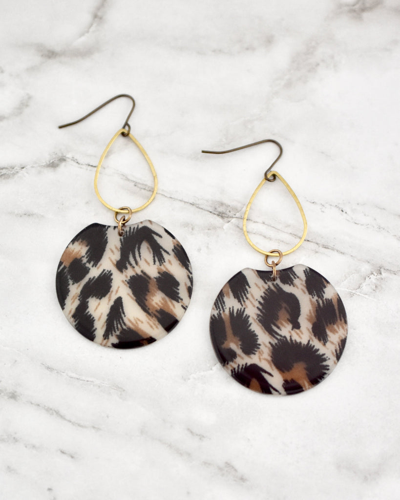 Etch Earrings, Leopard