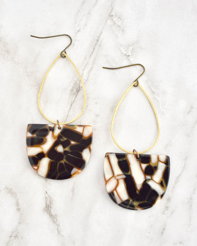 Emmy Half Oval Earrings, Black & Copper