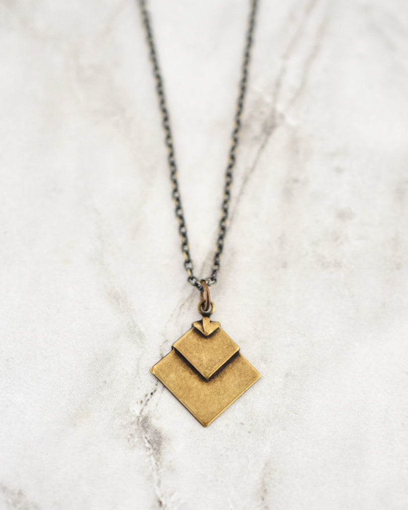 Hazel Necklace With Chevron Diamond Brass Pendant