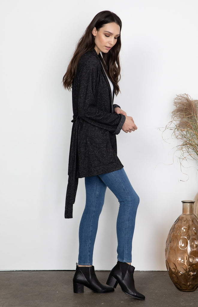 Delaney Long Cardigan in Charcoal