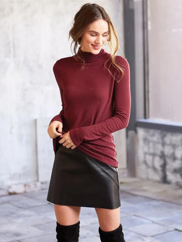 Dixie Knit Turtleneck in Pinot