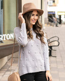 Dot Sweater by Grace & Lace, Heather Grey