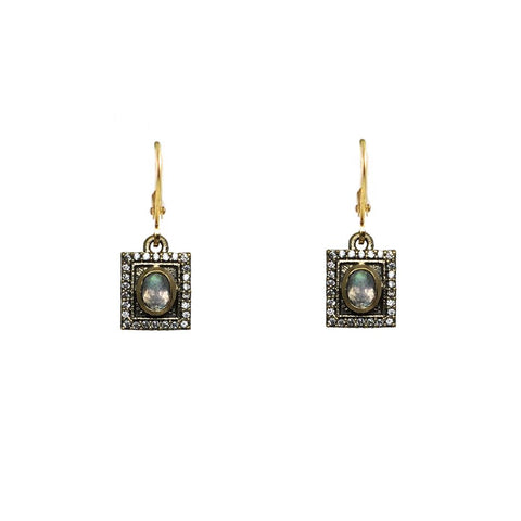 Bela Vintage Gold Labradorite Earrings